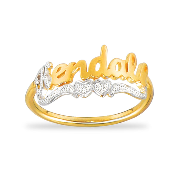 Two Tone with Two Heart 18K Gold Plated Custom Name Ring