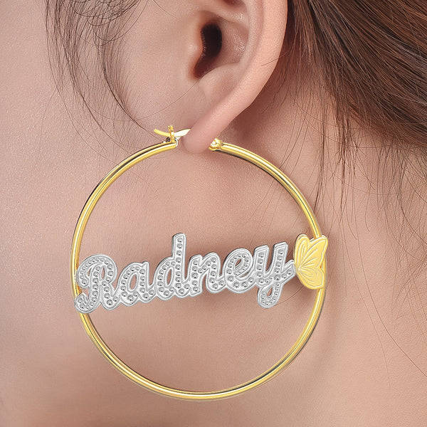 Butterfly Two Tone Personalized Custom Gold Plated Name Hoop Earrings