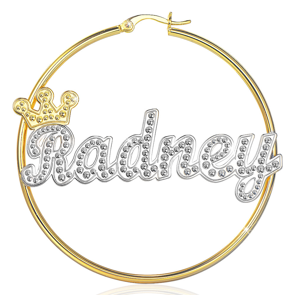 Crown Two Tone Personalized Custom Gold Plated Name Hoop Earrings