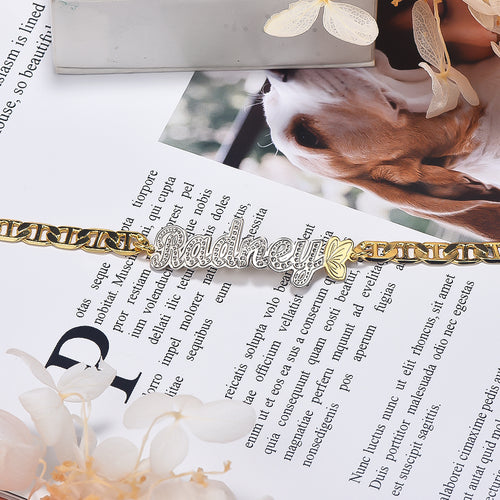 Butterfly Two Tone Personalized Custom Gold Plated Name Anklet