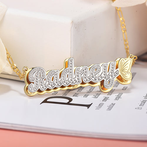 Butterfly Double Plate Two-tone Personalized Custom Gold Plated Name Necklace