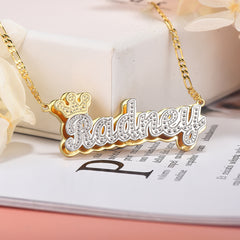Crown Two-tone Personalized Custom Name Ring and Double Plate Necklace Set Gold Plated