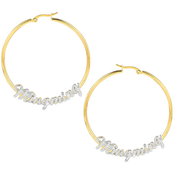 18K Gold Plated Personalized Two Tone Hoop Name Earrings
