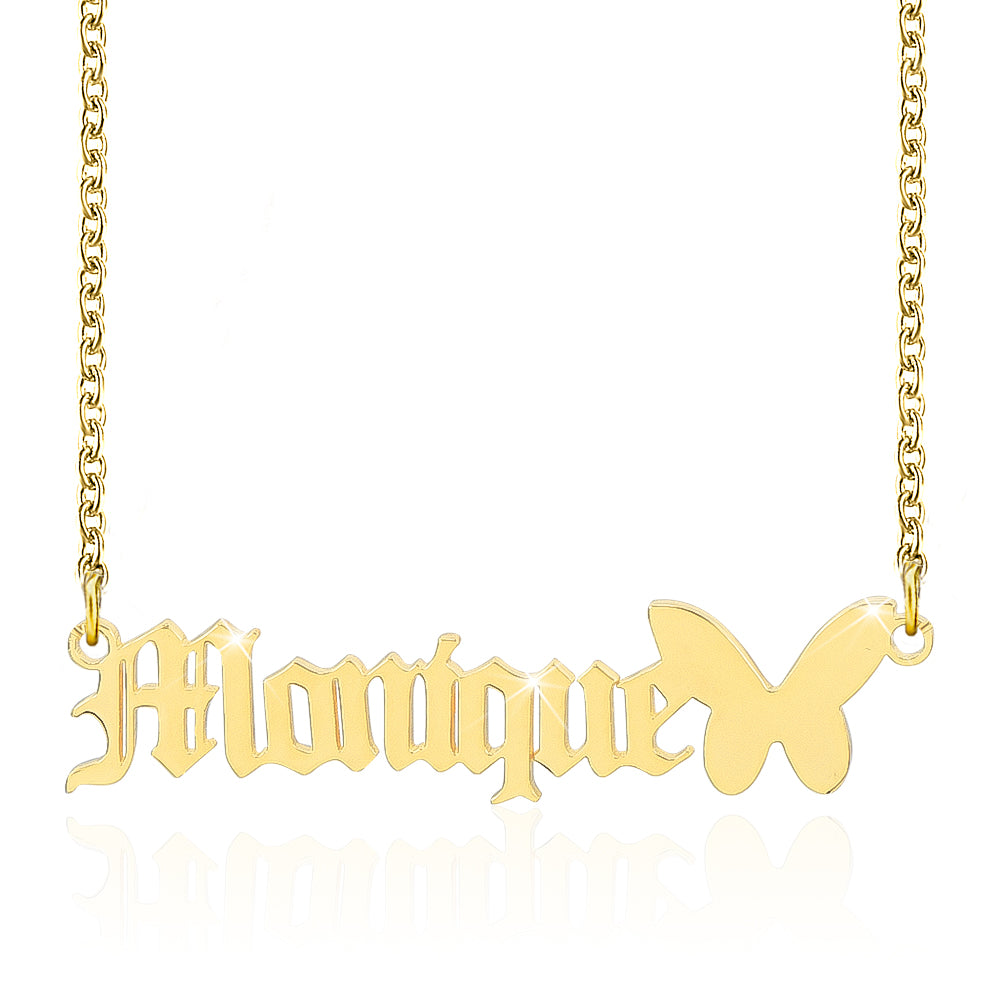 Old English Gold Plated Custom Name Necklace with Butterfly