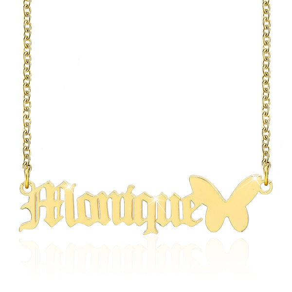 18K Gold Plated Custom Old English Name Necklace with Butterfly