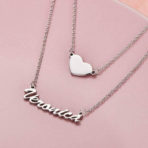 Two Layers Personalized Heart Name Necklace 18K Gold Plated