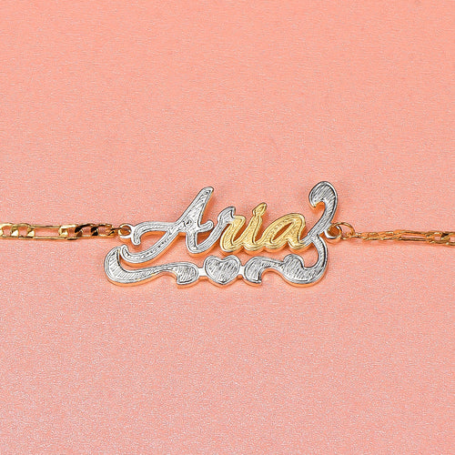 18K Gold Plated Personalized Two Tone Heart Name Bracelet