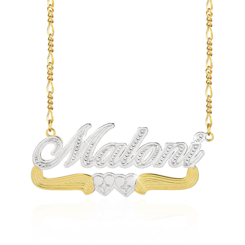 Two Tone Two Heart Custom Gold Plated Name Necklace