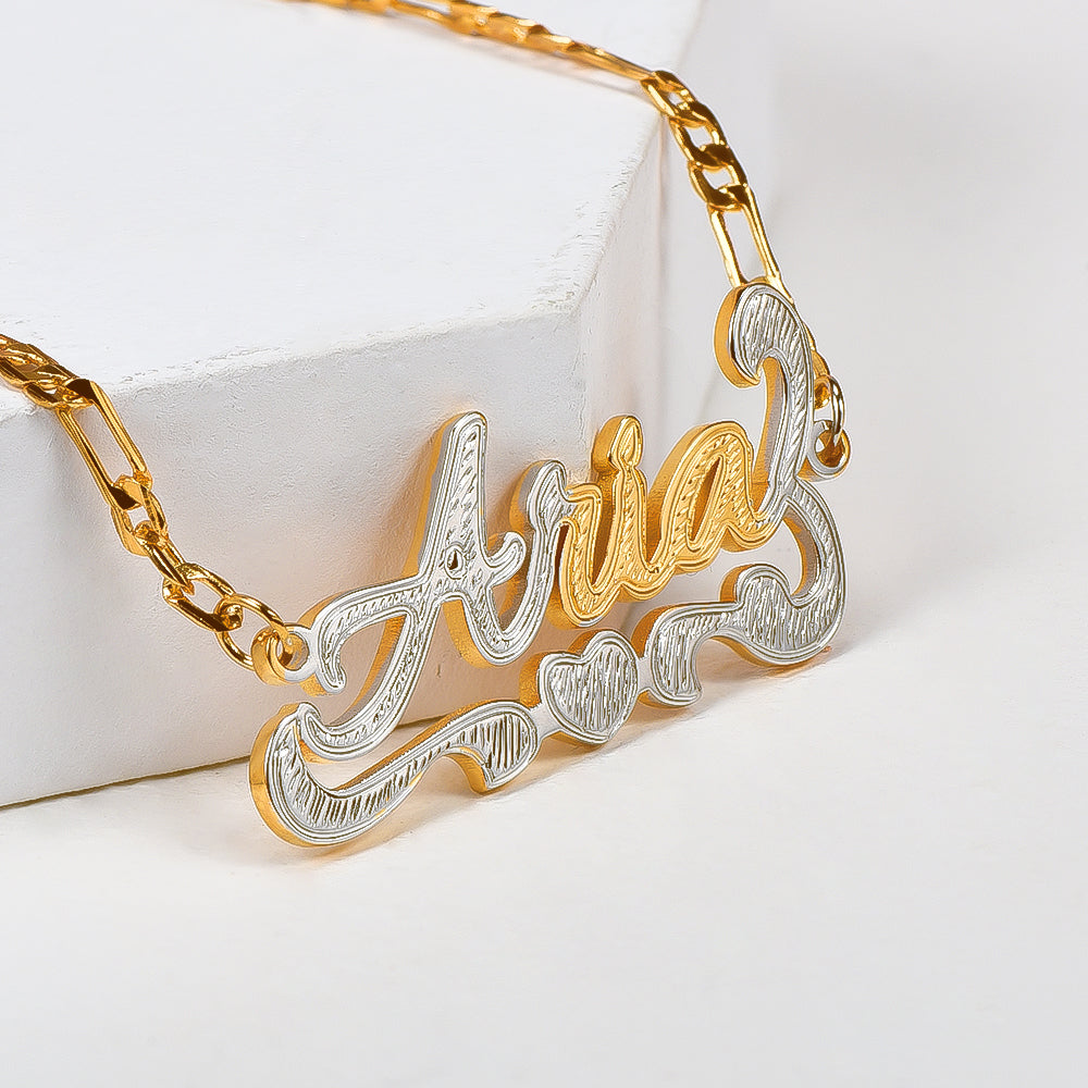 Heart Two Tone Gold Plated Personalized Custom Name Anklet