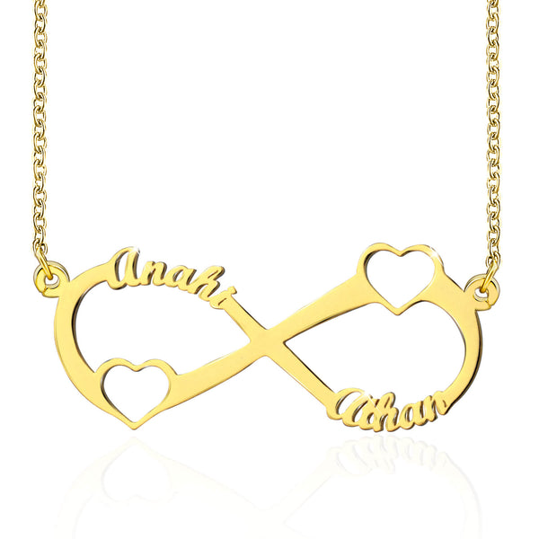 18K Gold Double Heart Infinity Necklace Nameplate With 2 Names