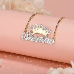 Two Tone Crown Personalized Custom Name Necklace Gold Plated