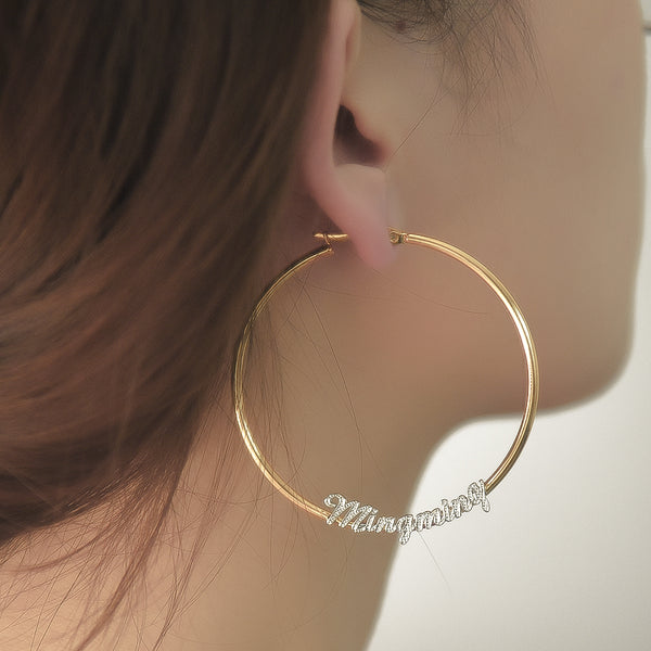 Gold Plated Personalized Two Tone Hoop Name Earrings