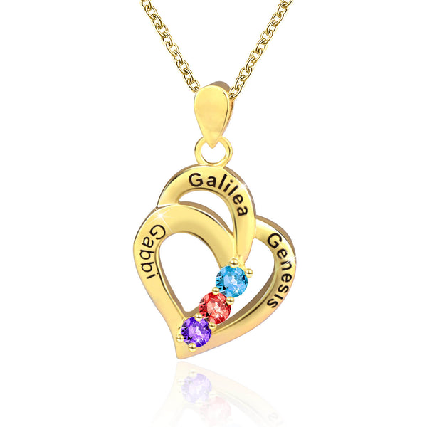 18K Gold Plated Personalized 3 Names With Birthstones Mothers Heart Necklace