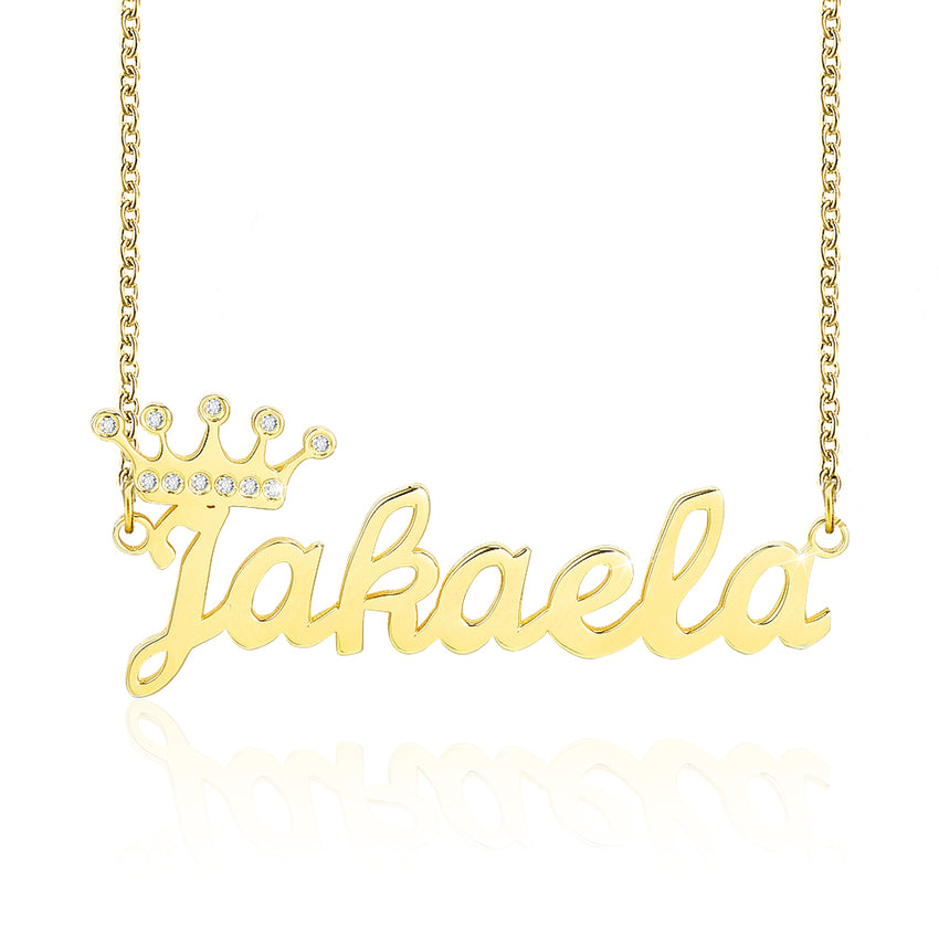 Bling Crown Custom Gold Plated Name Necklace