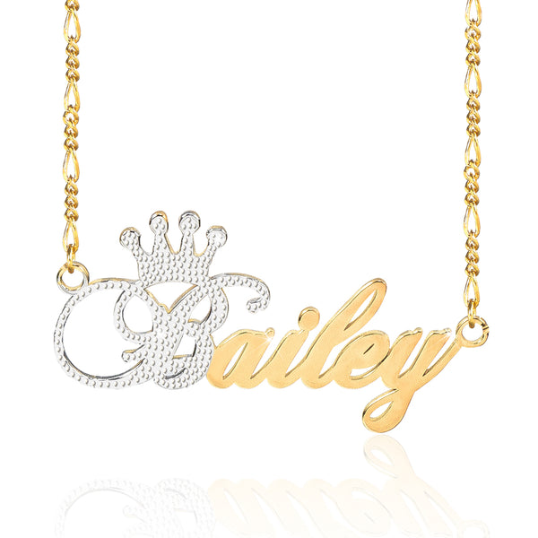 Two Tone 18K Gold Plated Personalized Name Necklace with Crown