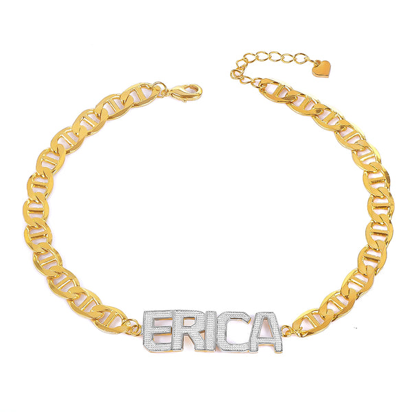 18K Gold Plated Capital Letter Two Tone Custom Name Bracelet
