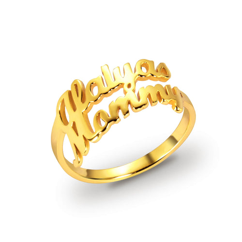 18K Gold Personalized Name Ring with two name For Girlfriend