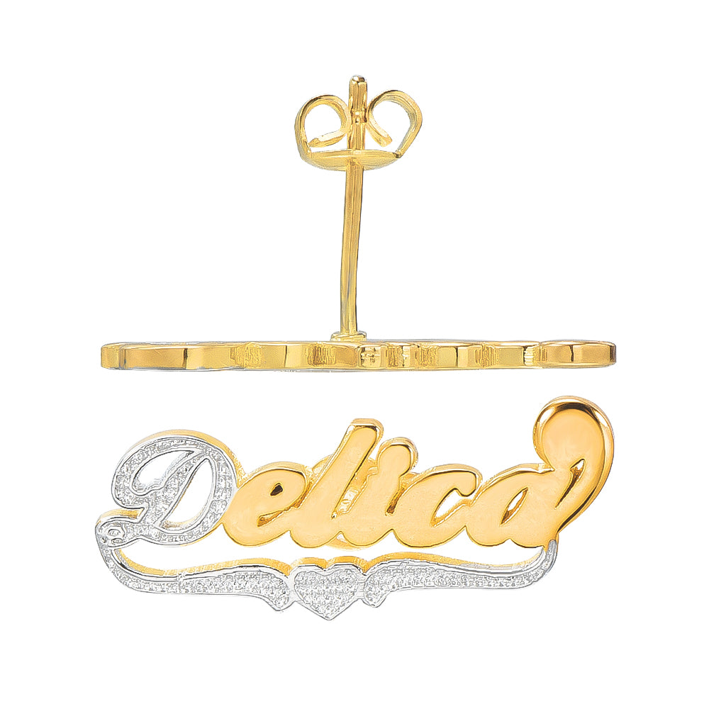 Two Tone 18K Gold Plated Personalized Name Earrings with Heart