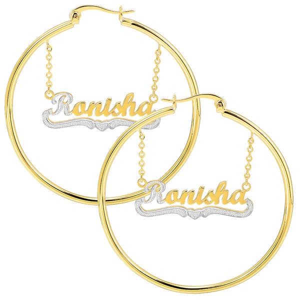 18K Gold Plated Two Tone Hoop Personalized Name Earrings