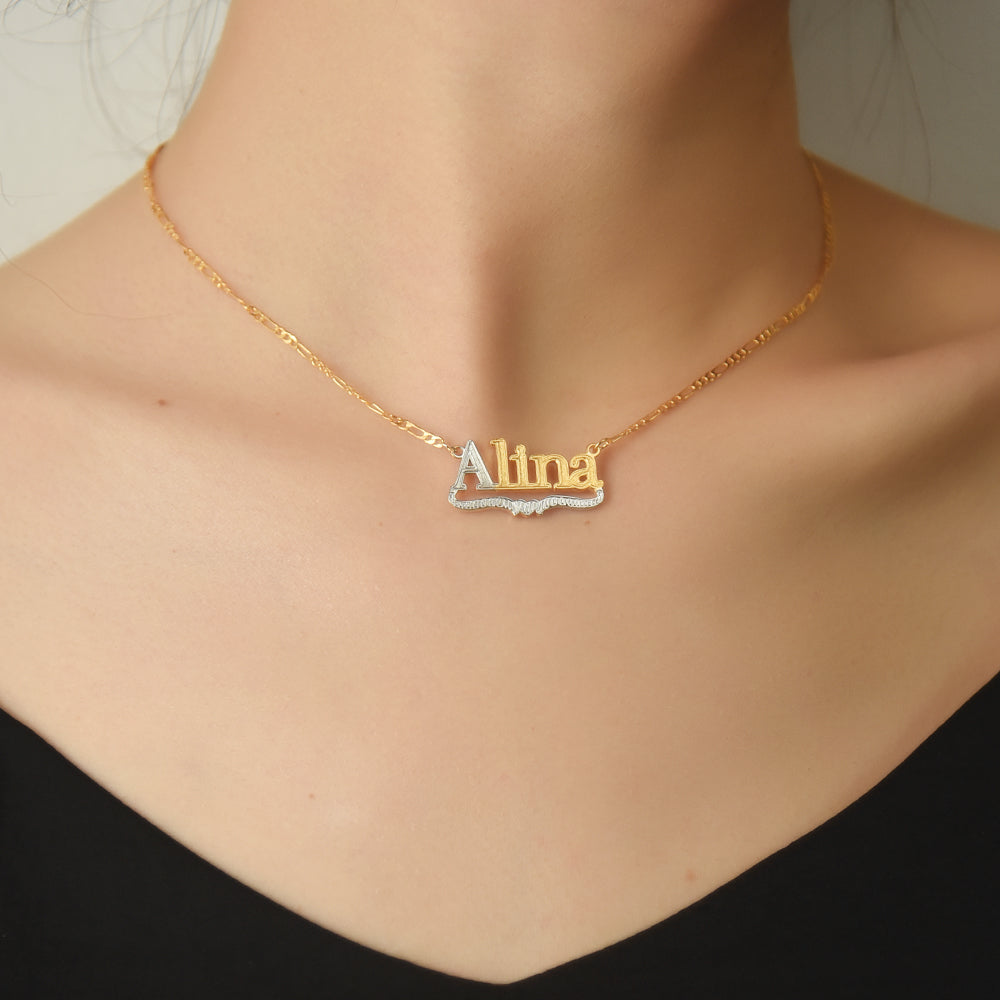 Gold Plated Personalized Two Tone with Heart Name Necklace