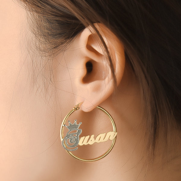 Gold Plated Personalized Two Tone Hoop Name Earrings with Crown