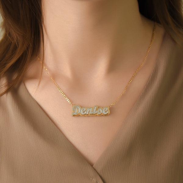 Double layer 18K Gold Plated Two Tone Custom Name Necklace