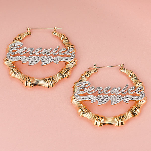 Two Tone Double Heart Hoop Bamboo Personalized Custom Name Earrings Gold Plated