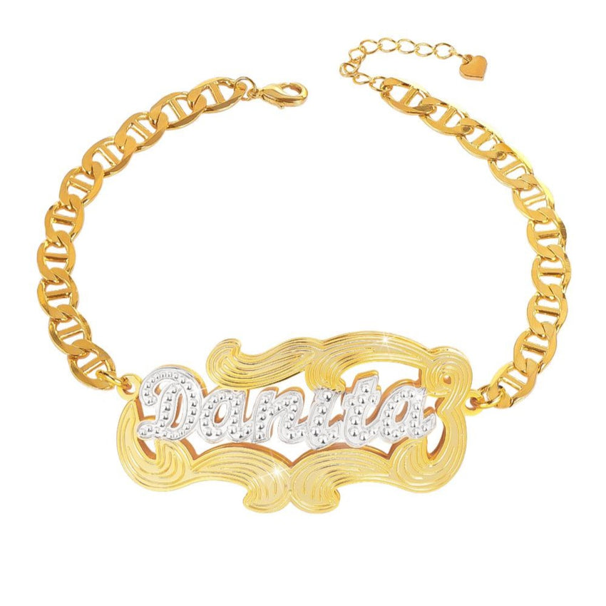 Double Plate Two Tone Personalized Custom Gold Plated Name Anklet