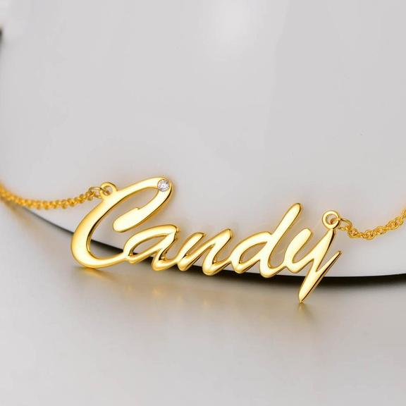 Personalized Name Necklace With Birthstone Birthday Gift 18k Gold Plated