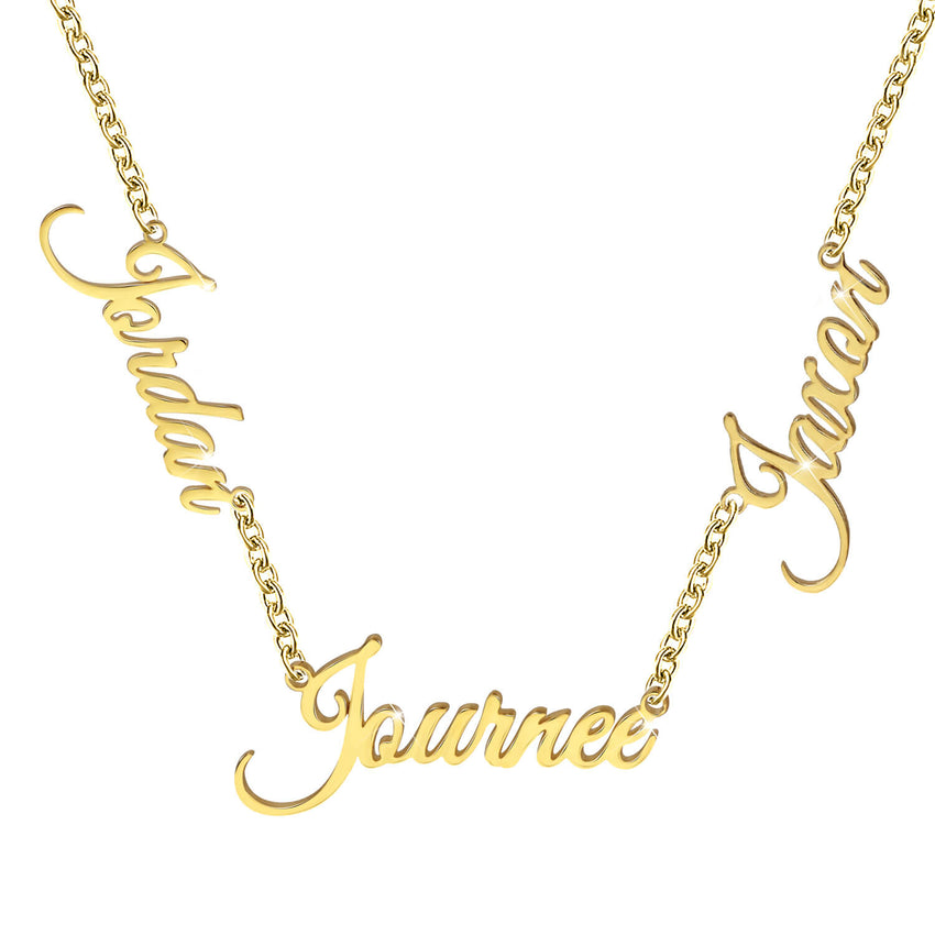 18K Gold Plated Personalized 3 Names  Necklace