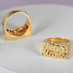 18k Gold Plated Personalized Double Name Ring