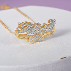 Two Tone 18K Gold Plated Personalized Hollow Heart Double Plate 3D Name Necklace