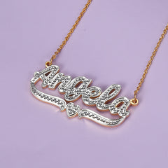 18K Gold Plated Personalized Two Tone Heart Name Necklace