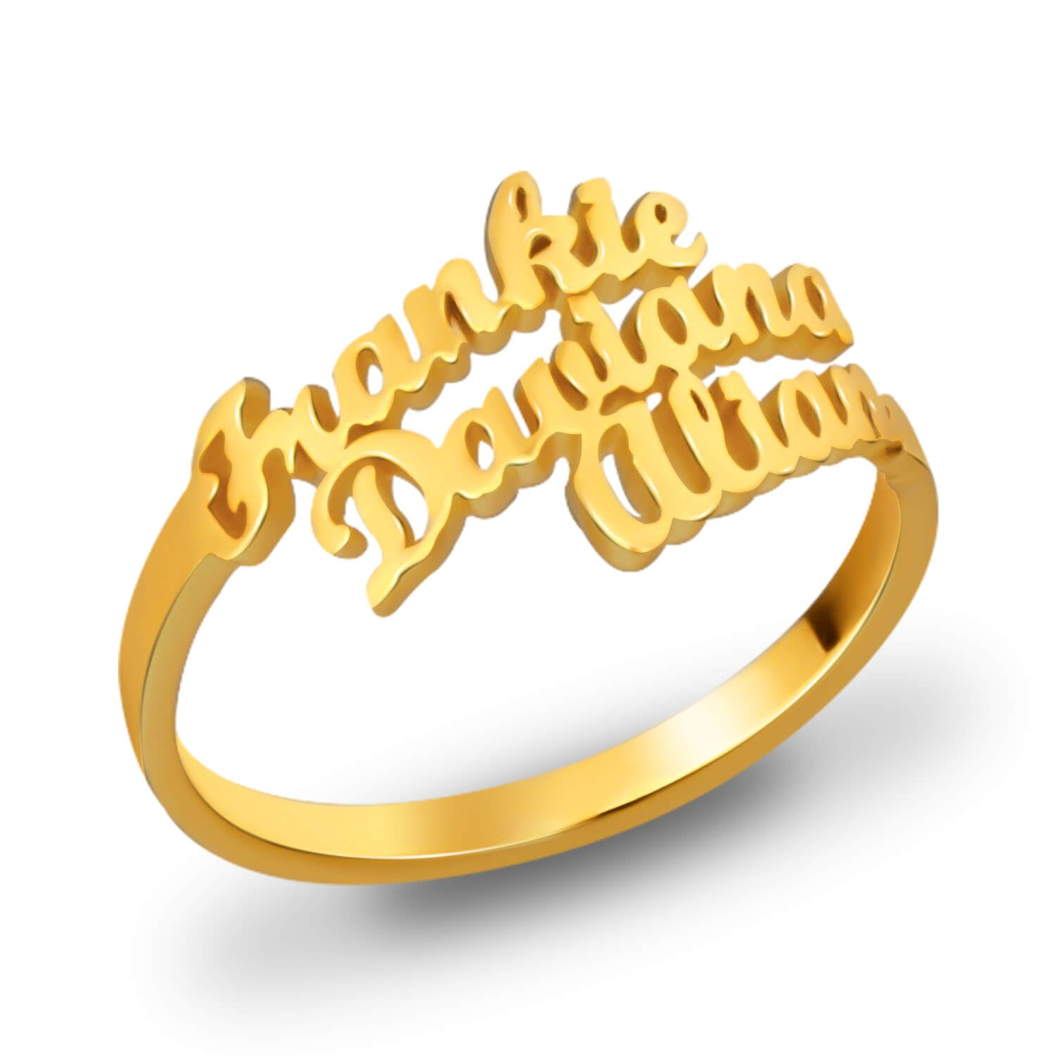 Personalized Ring 18K Gold Plated with Three Names