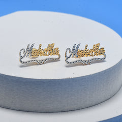 18K Gold Plated Two Tones Personalized Name Studs Earrings