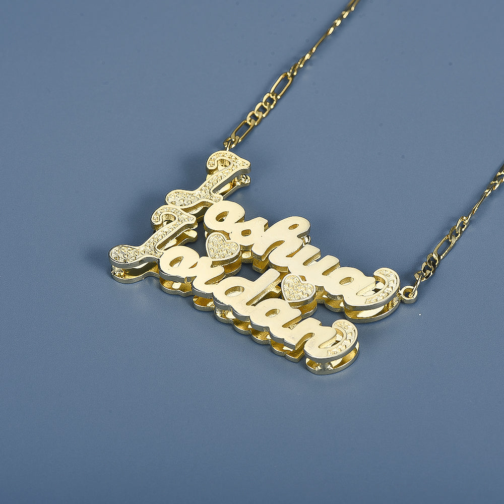 Double Layer 2 Names 2 Hearts Custom Gold Plated Couple Necklace