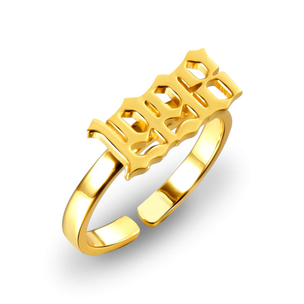 18K Gold Plated Personalized Custom Memorial Year Ring