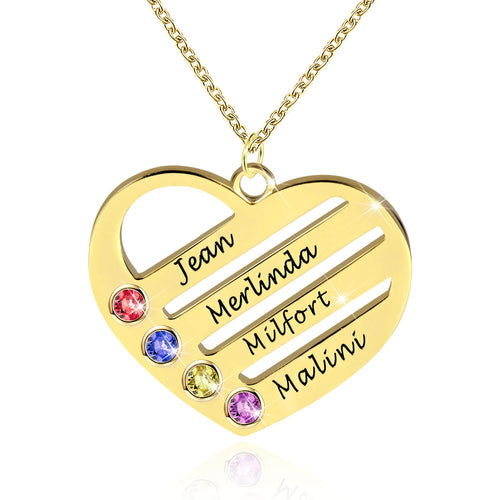 Family Necklace 4 Birthstone Heart Necklace With Names 18K Gold