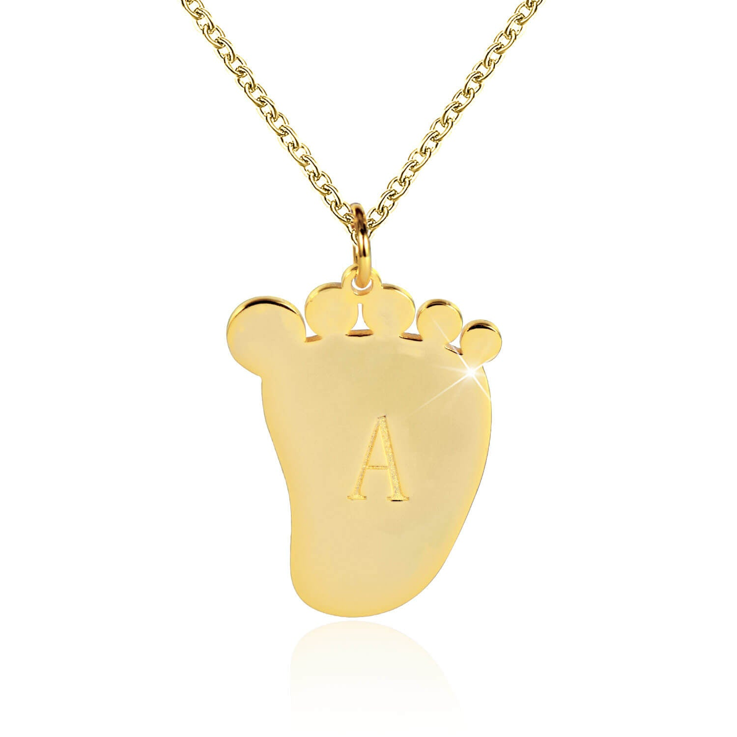 18K Gold Plated Baby Foot Initial Necklace