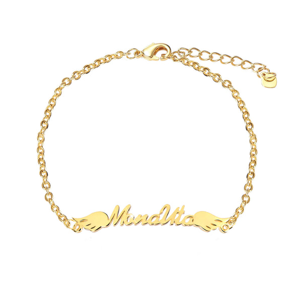 18K Gold Plated Personalized Angel Wings Name Bracelet
