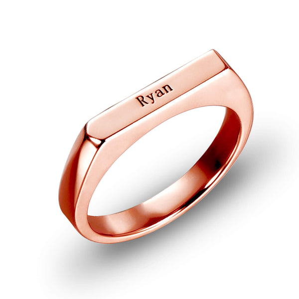 Custom Name Ring Engraved Bar Ring 18K Gold Plated