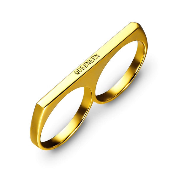 18K Gold Plated Personalized Two Finger Engraved Ring