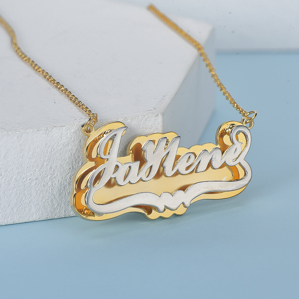 Double Layer Two Tone Personalized Custom Gold Plated Name Necklace
