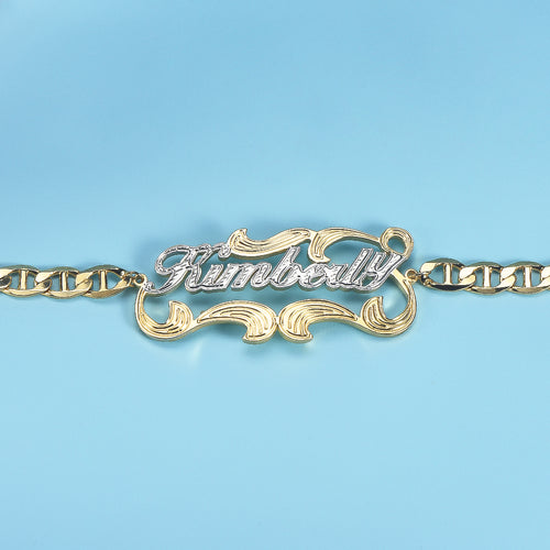 Two Tone 18K Gold Plated Personalized Name Bracelet