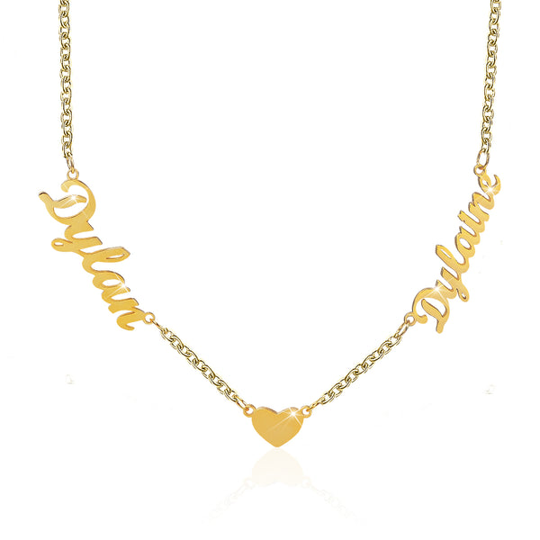 18K Gold Plated Personalized Two Names Necklace with Heart