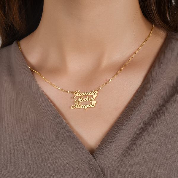 18K Gold Plated Personalized Three Names Necklace with Two Hearts
