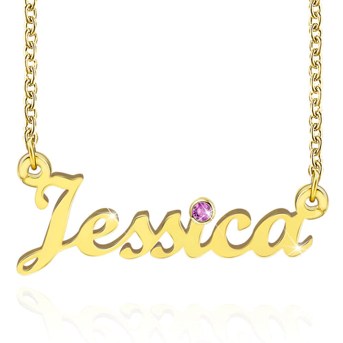 18k Gold Plated Personalized Name Necklace With Birthstone Birthday Gift