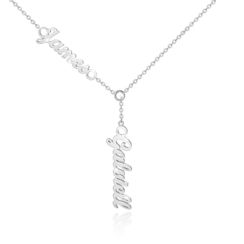 18K Gold Plated Personalized Double Names Necklace - Silviax