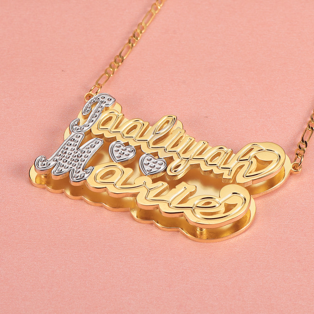 Double Layer Two Tone Personalized 18K Gold Plated Name Necklace with Two Hearts