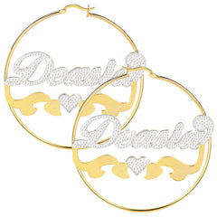 Two Tone 18K Gold Plated Personalized Hoop Name Earrings with Heart